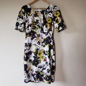 PAUL SMITH BLACK Pansy Print Short Sleeve Dress 42